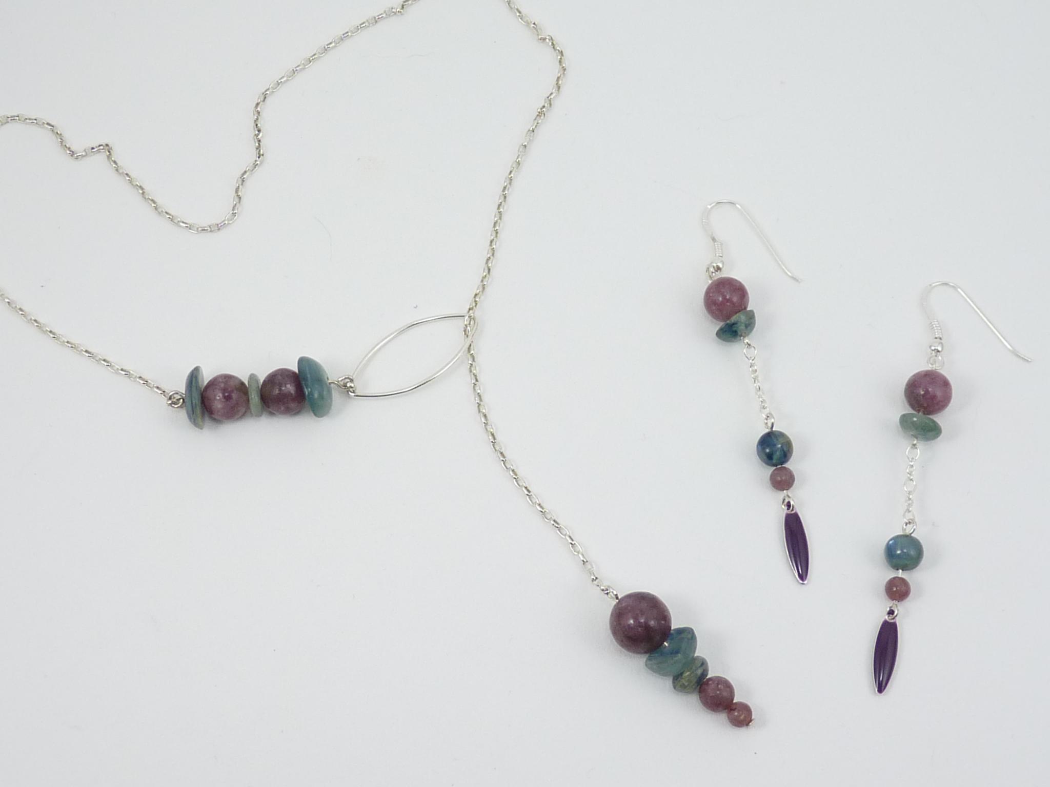 Cyanite & Lépidolite - Collier cravate et boucles