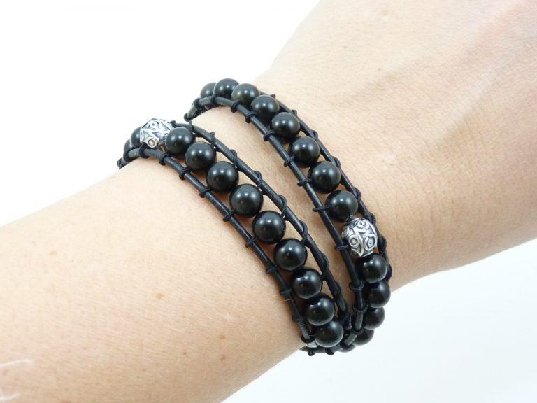 Obsidienne - Wrap cuir double